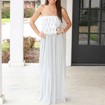 Lace Embroidered Strapless Shirtwaist Maxi Dress