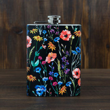Cute Hip Flask for women - Drinking Accessories - Womens flask - Bridesmaid's gifts - Bachelorette party gifts - 7 ounce capacity