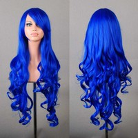 "Outop 32"" Long Hair Heat Resistant Spiral Curly Cosplay Wig Dark Blue"