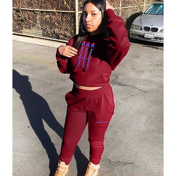 Champion Fashion New Letter Print Hooded Sports Leisure Long Sleeve Top And Pants Two Piece Suit Red