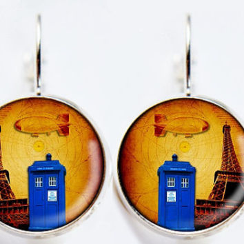 Dr Who Inspired Tardis Earrings - Paris - Public Police Box Jewelry - Geeky Whovian