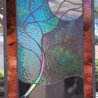 LARGE Flowing Tree in Moonlight Stained Glass Window  Panel