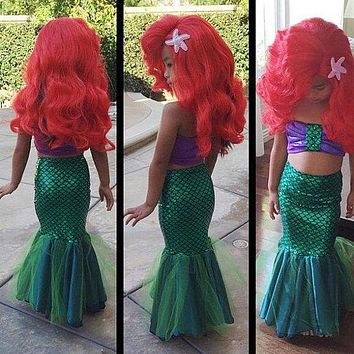 Little Mermaid Tail Princess Ariel Dress Cosplay Costume Girls