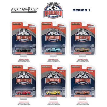 Ford GT Racing Heritage Series 1 6pc Set 1:64 Diecast Model Cars Greenlight