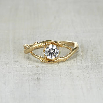 Intertwined Ring - Nature Inspired Diamond Solitaire Twig Engagement Ring in Yellow Gold, White Gold, Rose Gold or Platinum