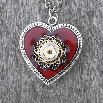 Clockpunk Steampunk Reversible Necklace, Gear-Encrusted Antiqued Silver & Red Heart Pendant with Watch Movement on Silver Curb Link Chain