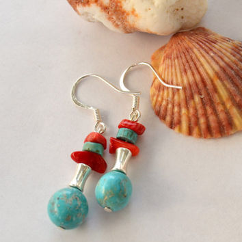 Turquoise earrings, coral earrings, silver earrings, boho dangles, Montana made, western jewelry, coral and turquoise, Montana Annies