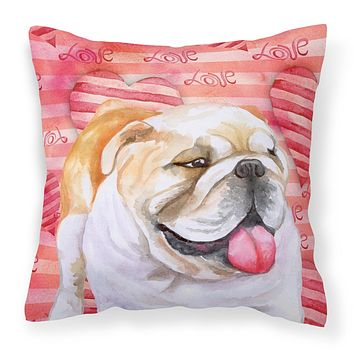 English Bulldog Love Fabric Decorative Pillow BB9726PW1818