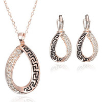 Zircon Inlaid Cut Out Necklace and Earrings