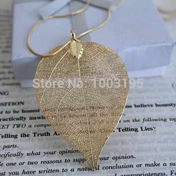 hot accessorize hot design gold Silver plating natural real leaf long necklace Pendant for women