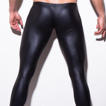 HOT Low-rise Bulge Pouch Night Club Stage Performance Tights N2N Bodywear Pants Men's Sexy Faux Leather Leggings Black Skin