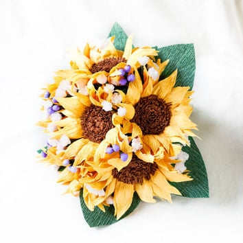 Handmade paper sunflowers bouquet, paper flower bouquet, wedding bouquet, bridesmaid bouquet,  decoration, Summer, Spring, bridal bouquet