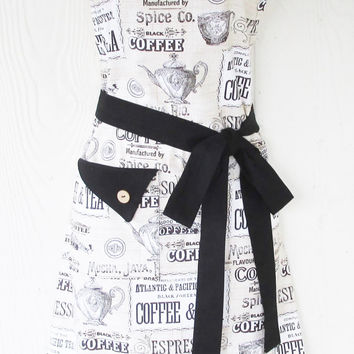 Coffee Lovers Apron, Tea Lovers, Espresso, Latte, Java, Womens Full Apron, KitschNStyle