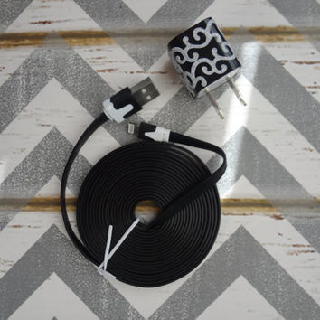 New Super Cute Jeweled Chevron Design Wall iphone 5/5S Charger + 10ft Flat Tangle Free Cable cord PICK Your Favorite One