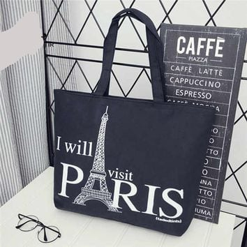 I Will Visit Paris Tote Bags with Shoulder Beach Tote Purse Canvas Handbags Totes Bags - Ladies Shoulder Bags