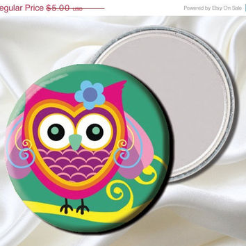 40% OFF - Pocket Mirror - Whimsy Tree Owl -Party Favor, Bridesmaid Gift, Baby Shower, Birthday, Stocking Stuffer MR232