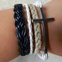 Infinity bracelet, Cross Bracelet, braid leather bracelet and best wishes to you