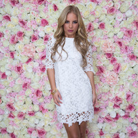 Cut Above Crochet Shift Dress In White