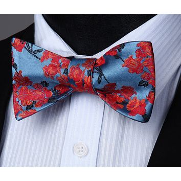 Red Blue Flower Self Tie Bow Pocket Square