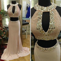 Sexy Champagne Prom Dresses with Pearls Halter Neckline New Two Pieces Prom Dresses 2016 Backless Mermaid Prom Gowns