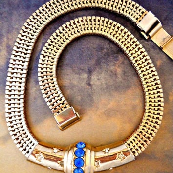 Square Mesh Necklace BROOKCRAFT, Slide Choker, Blue Rhinestones, Gold Tone Vintage
