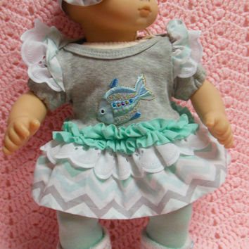 "American Girl BITTY BABY clothes ""Rainbow Fish"" (15 inch) doll outfit with dress, leggings, baby booties, and headband/ hair clip"