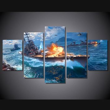 Warships fighting Wall Art on Canvas canvas print panel picture Framed Unframed