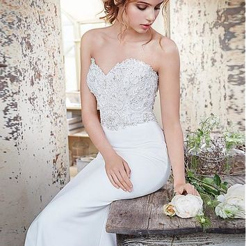 [145.99] Amazing Tulle & Acetate Satin Sweetheart Neckline Sheath Wedding Dresses With Beaded Lace Appliques - dressilyme.com