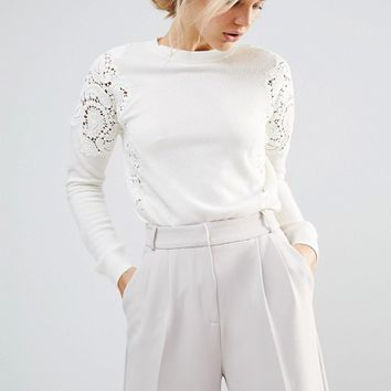 Ted Baker Lace Shoulder Sweater at asos.com