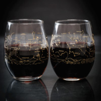 Night Sky Star Chart Summer & Winter Stemless Wine Glasses (Pair)