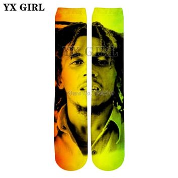 YX GIRL Drop shipping 2018 summer New 22 styles Knee High Socks Reggae Bob Marley Print 3d Men's Women's Hip hop style Socks
