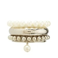 Bead & Pearl Bracelet Set - 4 Pack by Charlotte Russe - Silver
