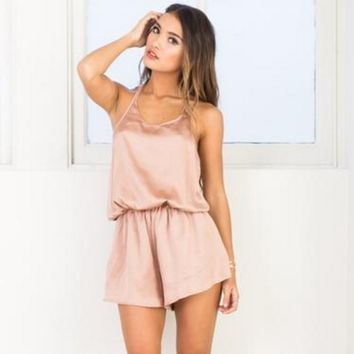 The similar satin Halter Slouchy pajamas Halter Jumpsuit romper one piece
