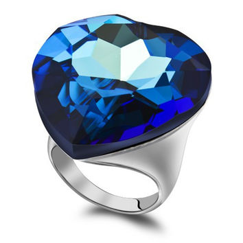 7.5 Austrian Crystal Blue Sapphire Engagement Rings Exaggerated Big Stone Heart Of The Ocean Ring Made With Real Swarovski Elements