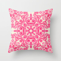 Hot Pink & Soft Cream Folk Art Pattern Throw Pillow by micklyn
