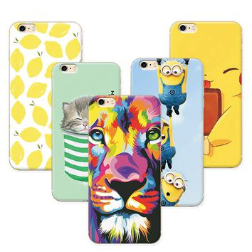 Fruit Painting Cat lion Minions Phone Cases For Coque  iPhone 6 6S Case Cover Soft Silicone funda  iPhone 6S 6 S 4.7 inch+Gift