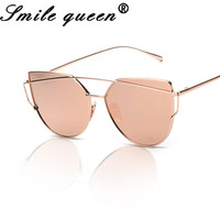 2016 Brand Designer Fashion Cat Eye Sunglasses Women Twin-Beams Stylish Aviation Ladies Sunglasses Mirror Flat Alloy Frame