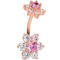 Pink Clear CZ Gem Rose Gold Tone Double Flower Delight Double Mount Belly Ring