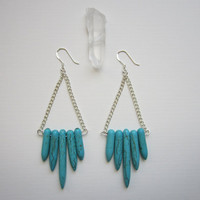Turquoise Howlite Dagger Earrings - Stone Spike - Silver Chain
