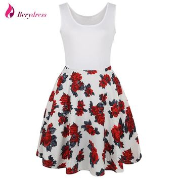 Berydress Elegant Womens Vintage Swing Dress Scoop Neck Patchwork Casual Short A-Line Flowers Print Floral Dresses with Pockets