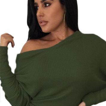 Chicloth Army Green Off Shoulder Lightweight Chunky Sweater