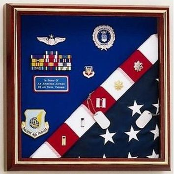 Flag Display Case - American Made for flag and medals Hand Made By Veterans