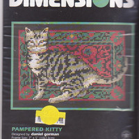 "Pampered Kitty counted cross stitch kit tiger cat on Persian rug designed by Daniel Gorman for Dimensions #6702 design size 7"" x 5"" UNOPENED"