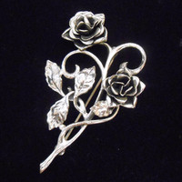 Danecraft Sterling Brooch Open Roses Flowers Leaves Vintage 1940's