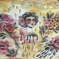 Original artwork watercolor acrylic drips chicks roses and bows red and black w gold by sarah de azevedo tattoo flash art