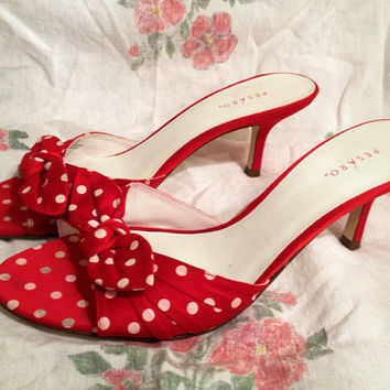 SALE Vintage Pesaro Red Polkadot Pin Up Rockabilly Bombshell 50's Pinup Heels Shoes Size 9