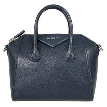 Givenchy Women's Antigona Sugar Goatskin Leather Satchel Bag Matte Night Blue