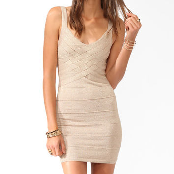 Woven Metallic-Blend Bandage Dress