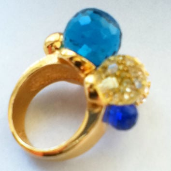 Colorful Orb CZ Cluster Ring Sz 8 Gold Tone Fashion Jewelry Women's Teens Gift Bat Mitzvah