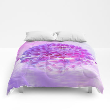 Purple Dahlia Comforters by Knm Designs
